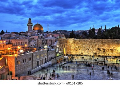 The Temple Mount - Western Wall and the golden Dome of the Rock in the old city of Jerusalem, Israel. HDR image.