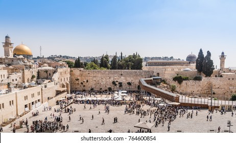 The Temple Mount - Western Wall, the golden Dome of the Rock and Al-Aqsa Mosque in the old city of Jerusalem, Israel