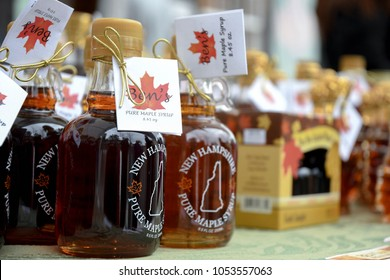 Temple, N.H./USA -- March 24, 2018: Bottles of maple syrup at Ben's Sugar Shack on New Hampshire Maple Weekend, when syrup producers open their doors to tourists and show how they turn sap to syrup.