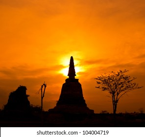 temple old, in ayutthaya thailand