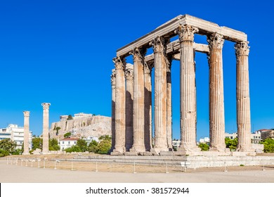 Temple of Olympian Zeus and Acropolis Hill, Athens, Greece