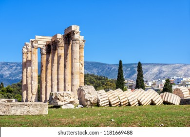 Temple of Olympian Zeus in Athens, Greece. The antique Temple of Zeus or Olympieion is one of the main landmarks of Athens. Panorama of the famous ancient Greek ruins in Athens center in summer.