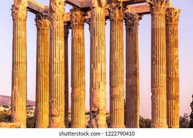 Temple of Olympian Zeus in Athens, Greece. The antique Temple of Zeus or Olympieion is one of the main landmarks of Athens.