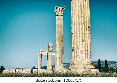 Temple of Olympian Zeus in Athens, one of the famous archaeological sites