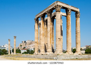 The Temple of Olympian Zeus, is a colossal ruined temple in the center of the Greek capital Athens that was dedicated to Zeus,