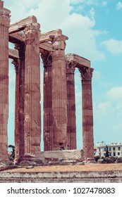 The Temple of Olympian Zeus also known as the Olympieion or Columns of the Olympian Zeus in Athens Greece
