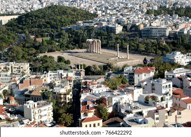 Temple of Olympian Zeus Olympieion as seen from Acropolis Athens, Greece. Cityscape of Athens on background.