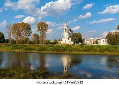 Temple on the banks of the Vologda river. Russia, Vologda city, 23 September 2018