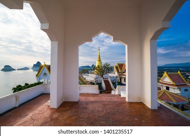 temple on hill in coast of Thailand