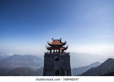 The temple on top mountain. Fansipan in sapa vietnam.