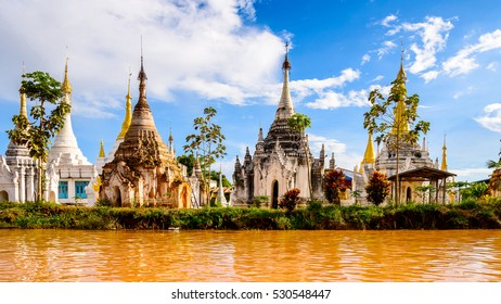 A temple over the Lake Inle, Myanmar