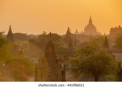 the Temple and Pagoda Fields in Bagan in Myanmar in Southeastasia.