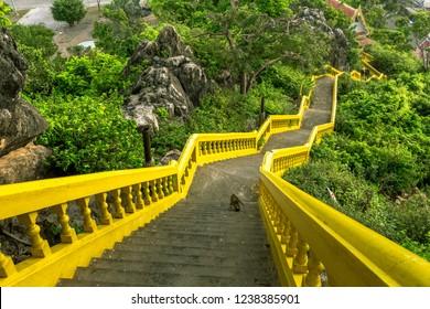 The temple and pagoda at Khao Chong Krachok mountain in Prachuap Khiri Khan province , Thailand