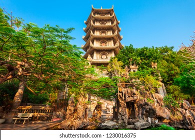 Temple pagoda at the marble mountains in Danang city in Vietnam