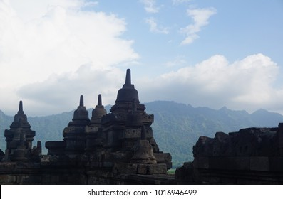Temple panorama view with mountain background in Indonesia