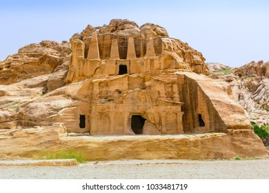 Temple in Petra. Made by digging a holes in the rocks and cutting the hill. Jordan