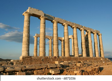 The temple of Poseidon at Cape Sounion, greece