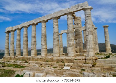 Temple of Poseidon the God of the sea at Cape Sounion close to Athens