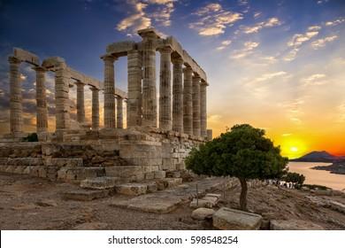 The Temple of Poseidon located at Sounion, Attica, Greece