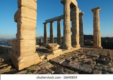 Temple of Poseidon in sunrise at Cape Sounion (Greece)