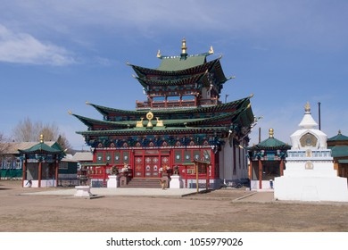 Temple of the Pure Land in Ivolginsky Datsan (Buddish temple), Buryatia, Russia.