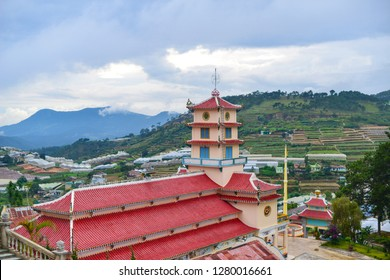The temple of religion Kao Dai, located in the town among the picturesque hills.