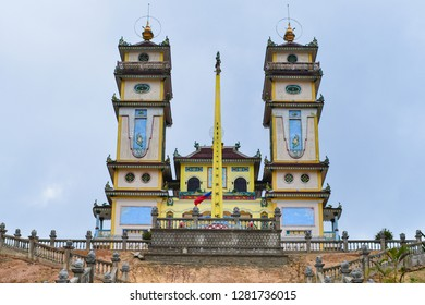 The temple of religion Kao Dai, located on a picturesque hill.