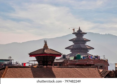 Temple roof top with the mountain as a background in Pokhara, Nepal