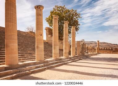 Temple ruins in Lindos. Rhodes, Greece.
