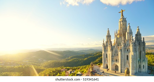 Temple Sacred Heart of Jesus on Tibidabo in Barcelona, Spain.