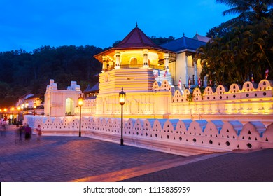 Temple of the Sacred Tooth Relic or Sri Dalada Maligawa in Kandy at sunset. Sacred Tooth Relic Temple is a Buddhist temple located in the royal palace complex of the Kingdom of Kandy.