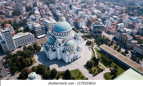 The Temple of Saint Sava in Belgrad from the Sky. The largest church in Southeastern Europe it is one of the largest Orthodox churches in the world