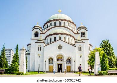 Temple of Saint Sava in Belgrade, Serbia in summer 2014