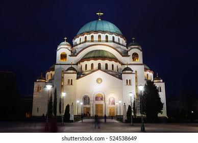 The temple of Saint Sava at evening illumination, Belgrade, Serbia