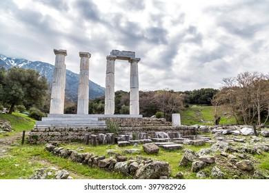 Temple at Samothraki island in Greece