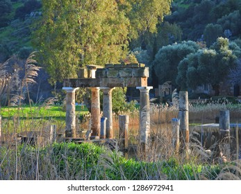 Temple and Sanctuary of Artemis in archaeological site of Vravrona at winter time, Attica, Greece