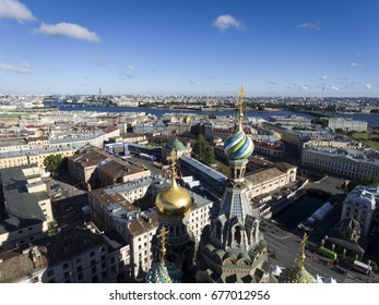 Temple of the Savior on Blood from a bird's-eye view. Saint Petersburg. Russia.
