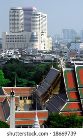 Temple and Skyline of Bangkok from the sacred Golden Mountain,  Thailand.