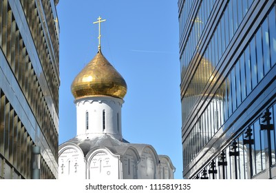 Temple of St. Nicholas. Old and new Moscow meet atTverskaya Zastava in Moscow