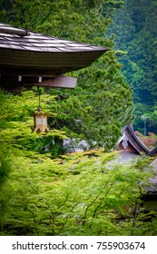 Temple stay in Koyasan Japan.  Details of the roof of the temples, and the insidie furnitures.