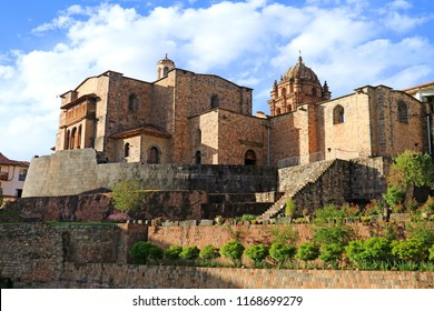 The Temple of the Sun of the Incas or Coricancha with the Convent of Santo Domingo Church above, Cusco, Peru, UNESCO World Heritage site