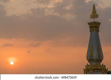Temple with sunset and clouds - beautiful pagoda at twilight