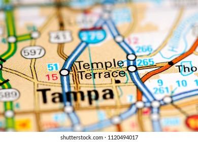 Temple Terrace. Florida. USA on a map