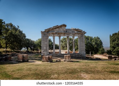 Temple and theater in the ancient city of Apollonia, Albania