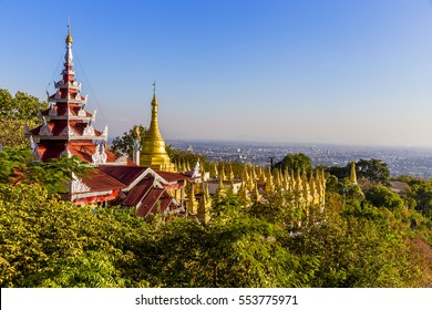 Temple at the top of Sagaing hill with colorful floor tiles is one of the tourists attractions in Mandalay, Myanmar