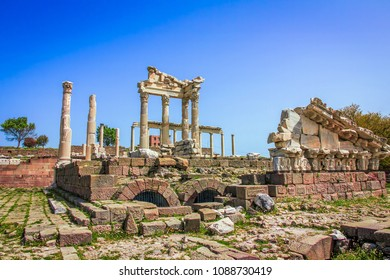 Temple of Trajan in ancient city Pergamon in Turkey