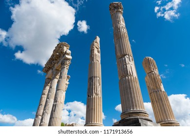 Temple of Trajan in ancient city Pergamon, Bergama, Turkey in a beautiful summer day
