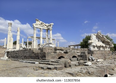 Temple of Trajan in the Ancient Greek City of Pergamon in Bergama, Turkey
