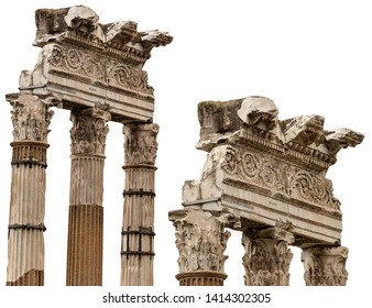 Temple of Venus Genetrix isolated on white, 46 bC. with columns and capitals in Corinthian style, Roman Forum, Rome, UNESCO heritage, Italy, Latium, Europe