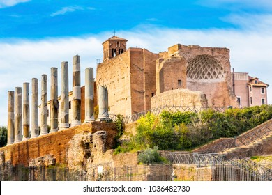 Temple of Venus and Rome Corinthian Columns Roman Forum Rome Italy.  Largest temple in ancient Rome, dedicated in 141AD by Emperor Hadrian